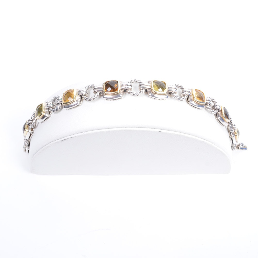 David Yurman Sterling Silver Gemstone Bracelet With 18K Yellow Gold Accents