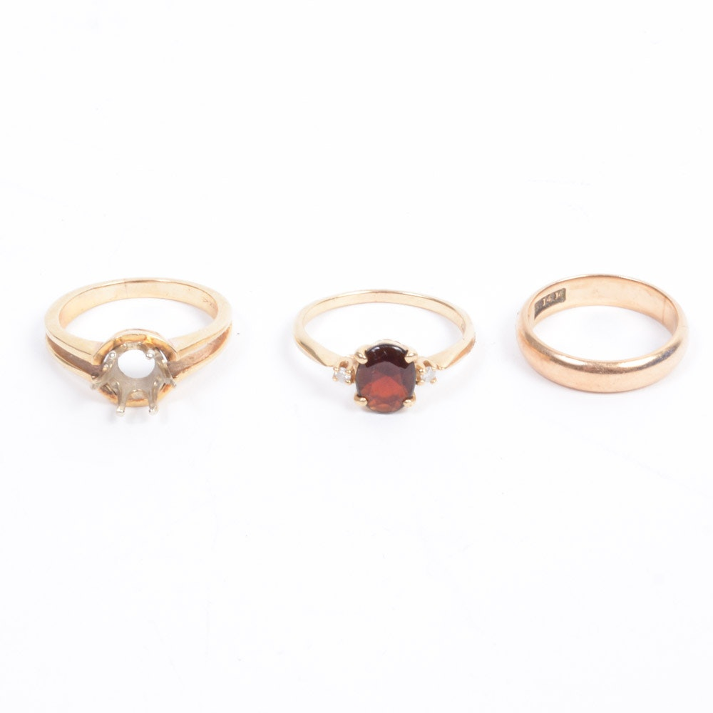14K Yellow Gold Rings With Diamonds and Garnet