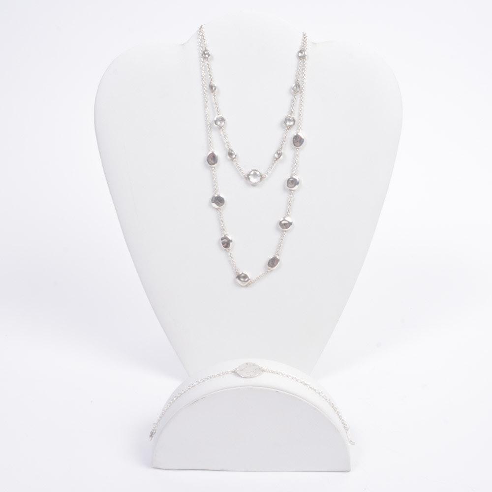 Ippolita Sterling Silver White Topaz Necklace and Bracelet Set