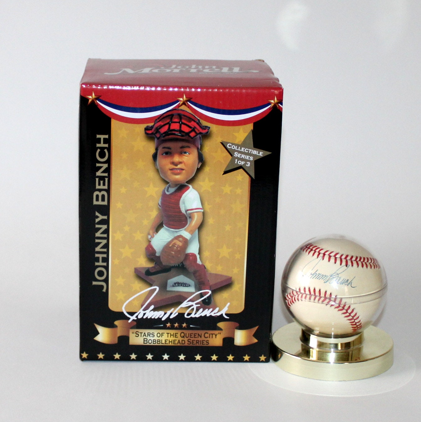 Johnny Bench Autographed Baseball Part - 30: Johnny Bench Autographed Baseball And Bobblehead ...