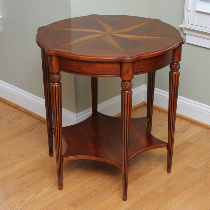 Six-Point Parquetry Top Wooden Side Table