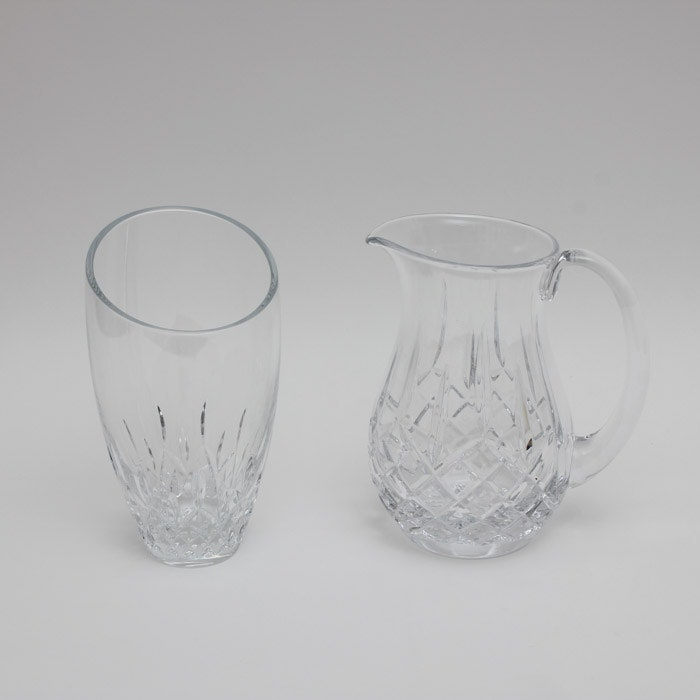 "Waterford ""Lismore""  Crystal Pitcher and Vase"