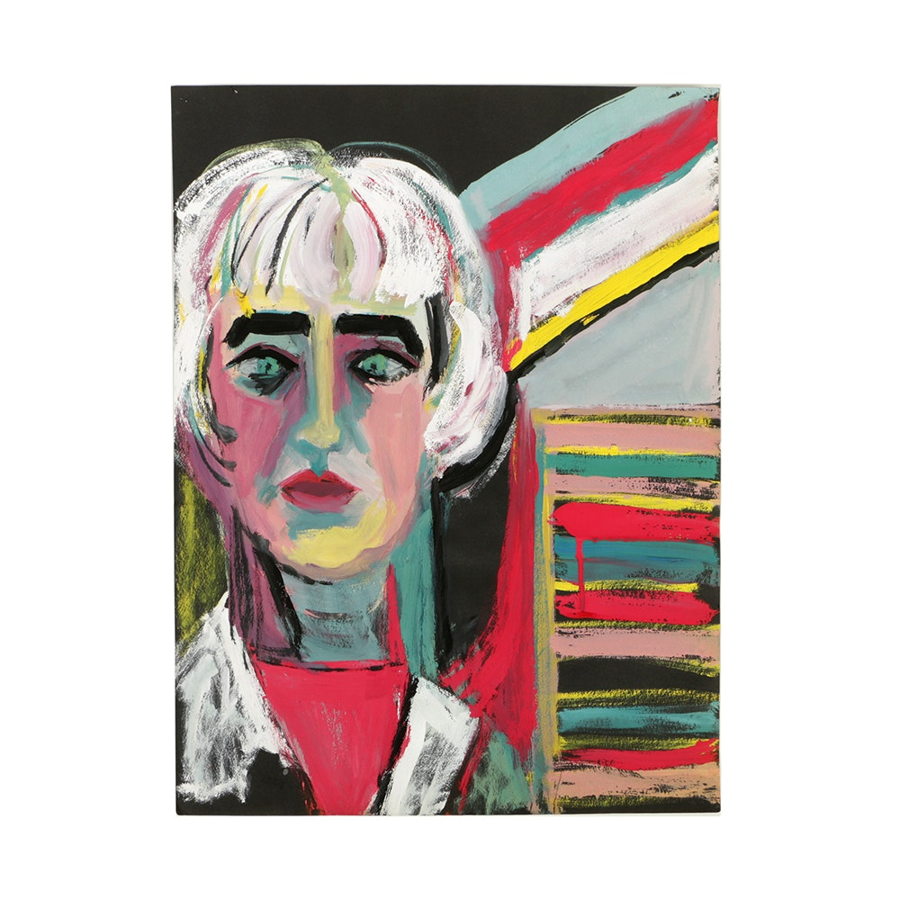 Gouache Painting on Construction Paper Abstract Portrait
