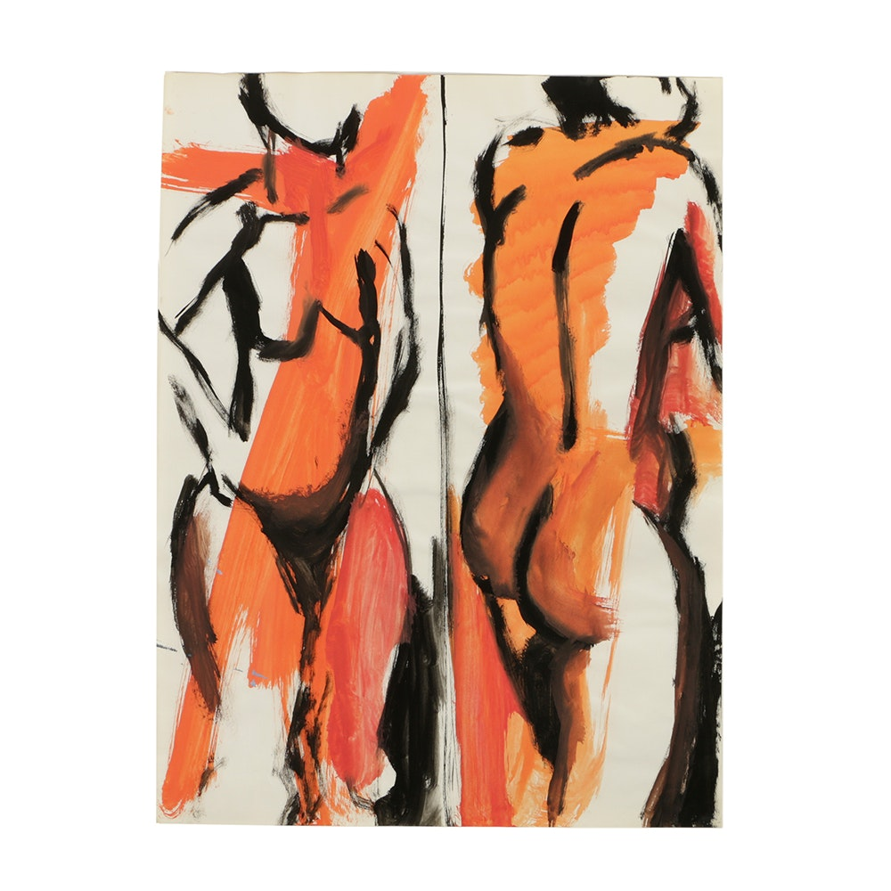 Gouache Painting on Paper of Abstract Figures