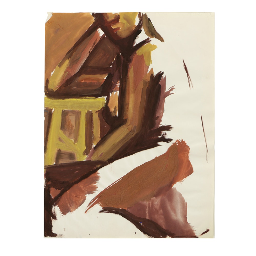 Gouache Painting on Paper of an Abstract Female Nude