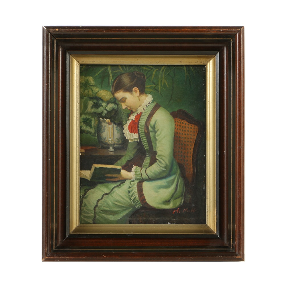 Oil Painting on Lacquered Board of Late 19th-Century Woman