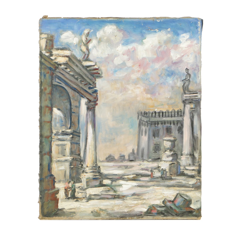 Original Oil Painting on Canvas of Ancient Ruins