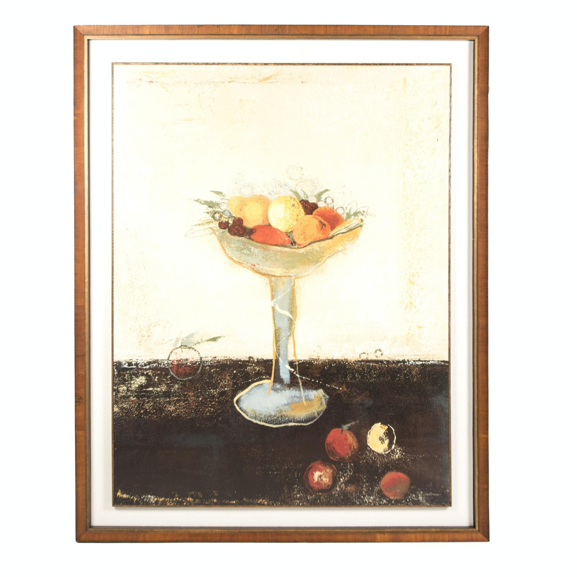 """After Mary Calkins Hand-Embellished Offset Lithograph """"Bol De Fruit"""""""