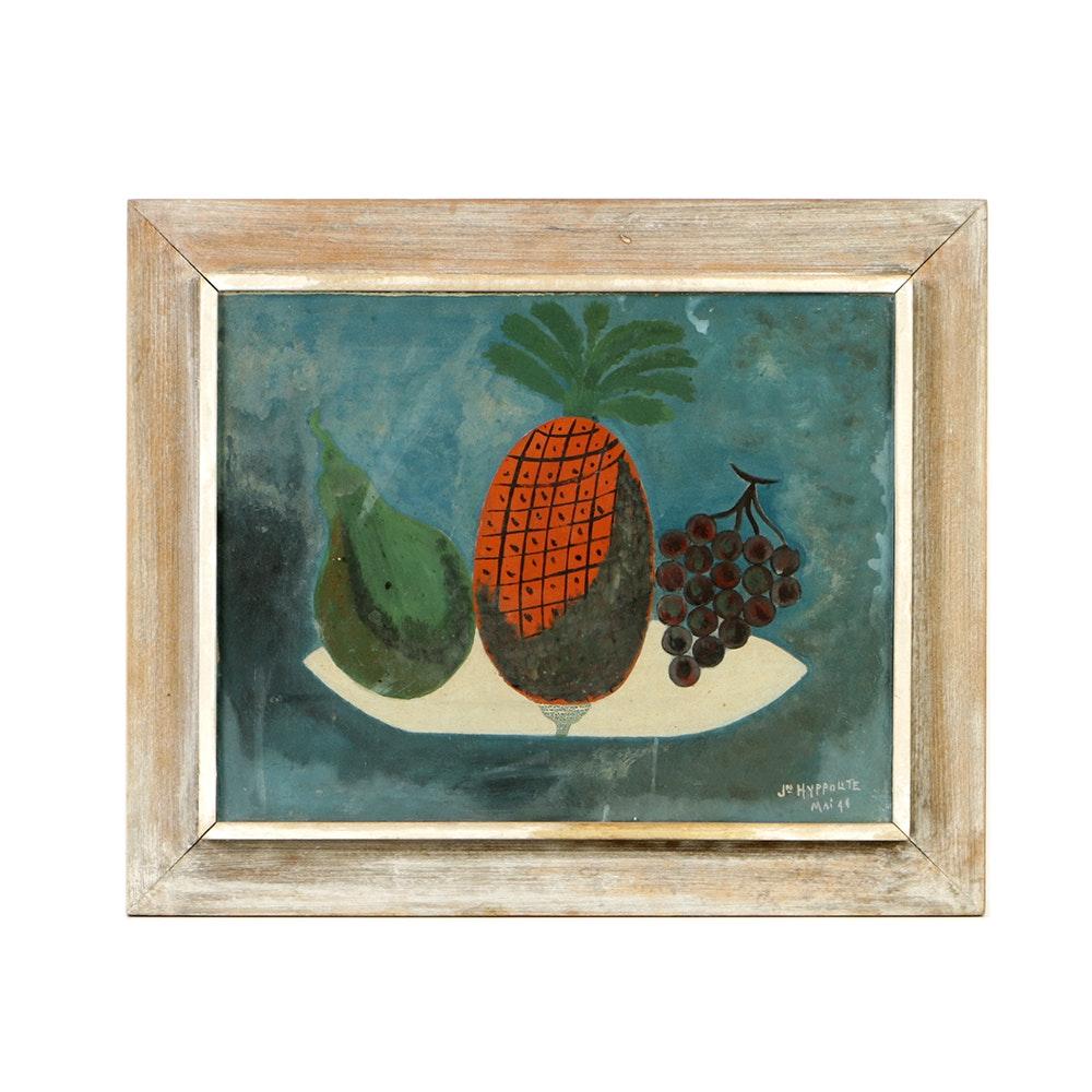 J.N. Hyppolite Mid 20th-Century Gouache on Panel Fruit Still Life