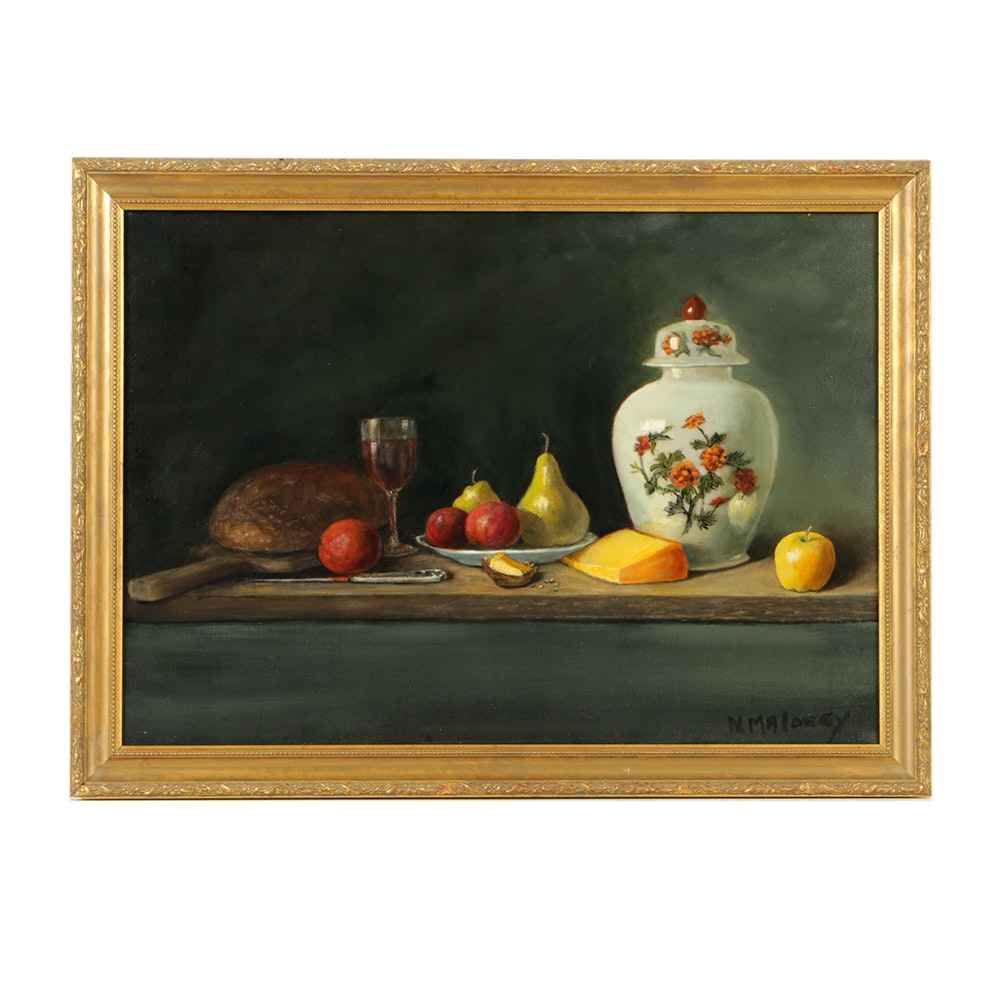 """Nancy Maloney Oil Painting on Canvas """"Repast"""""""
