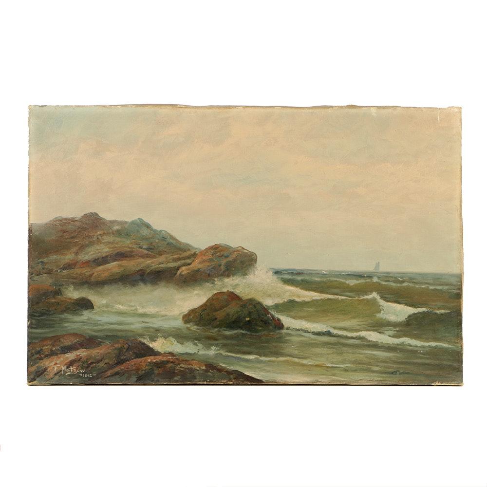 "Frederick Matzow Oil Painting on Canvas ""Coastal Waves"""