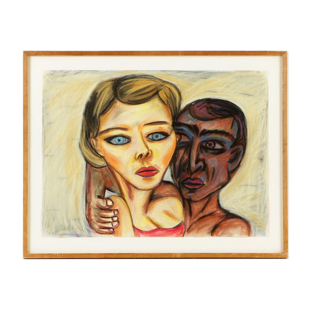 "Derek J. Lynch Pastel Drawing on Paper ""Ingénue"""