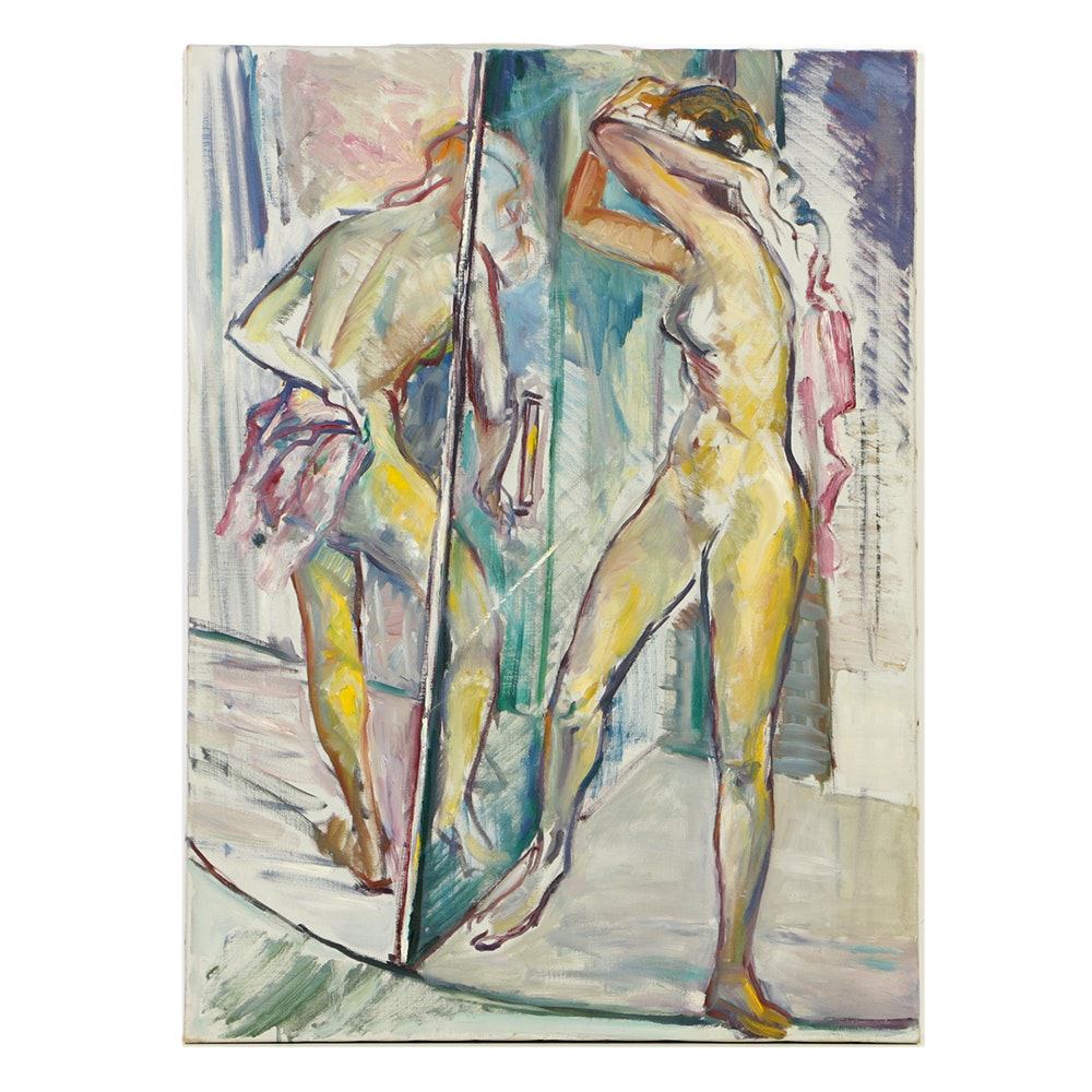 Original Oil Painting on Canvas of Pair of Abstract Figures