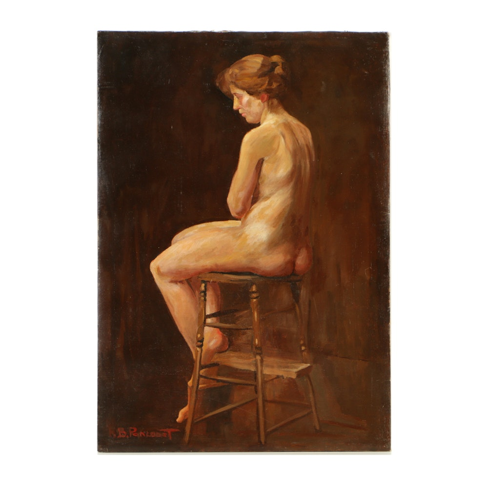 Henry Boller Pancoast Oil Painting on Canvas of Seated Nude Woman