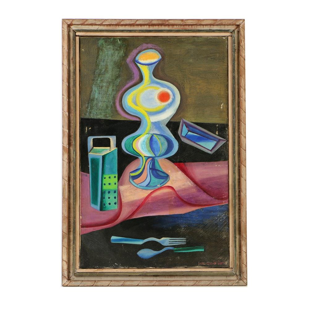 Bessie Boris Oil Painting on Canvas of Abstract Still Life