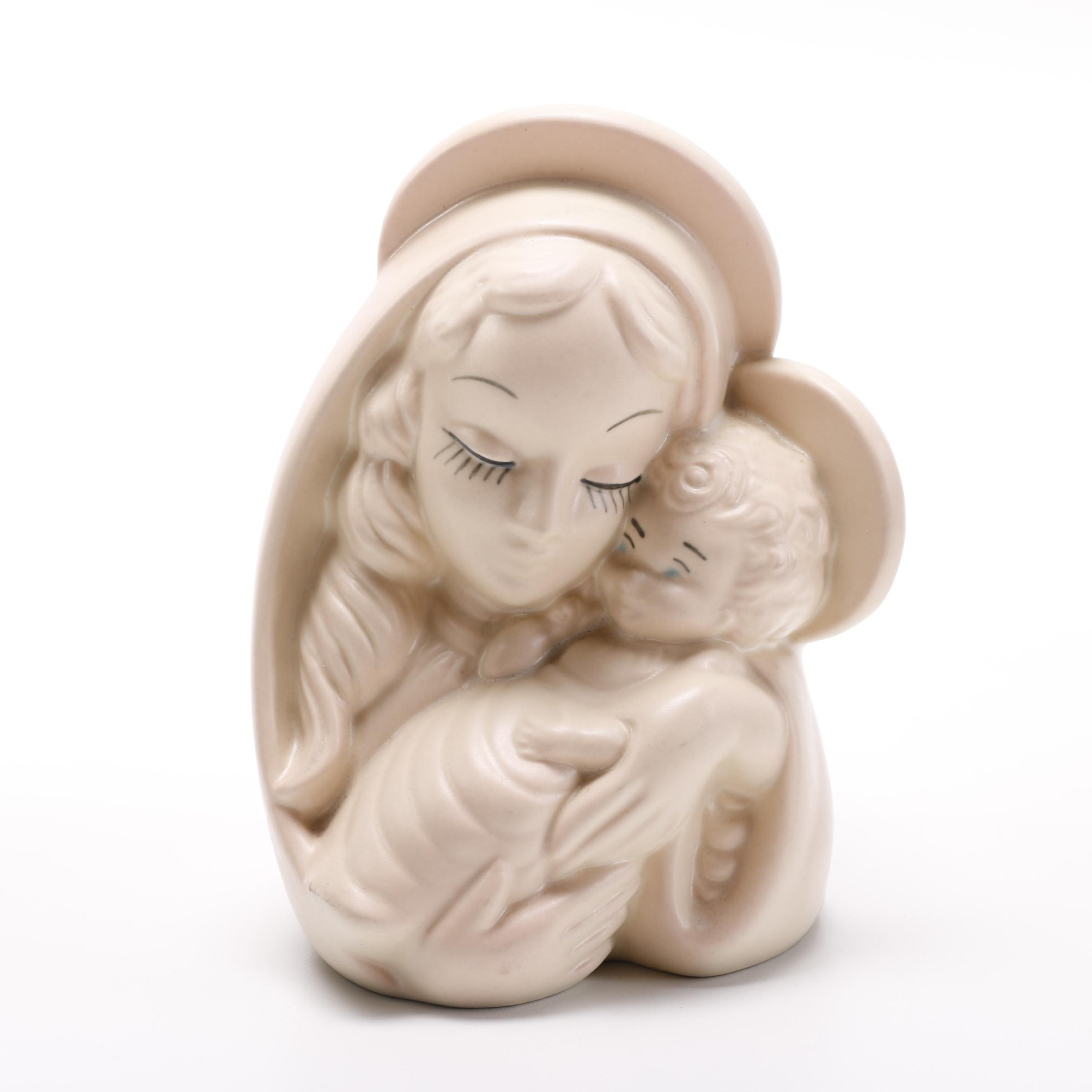 Mid Century Hull Vase of Madonna and Christ Child