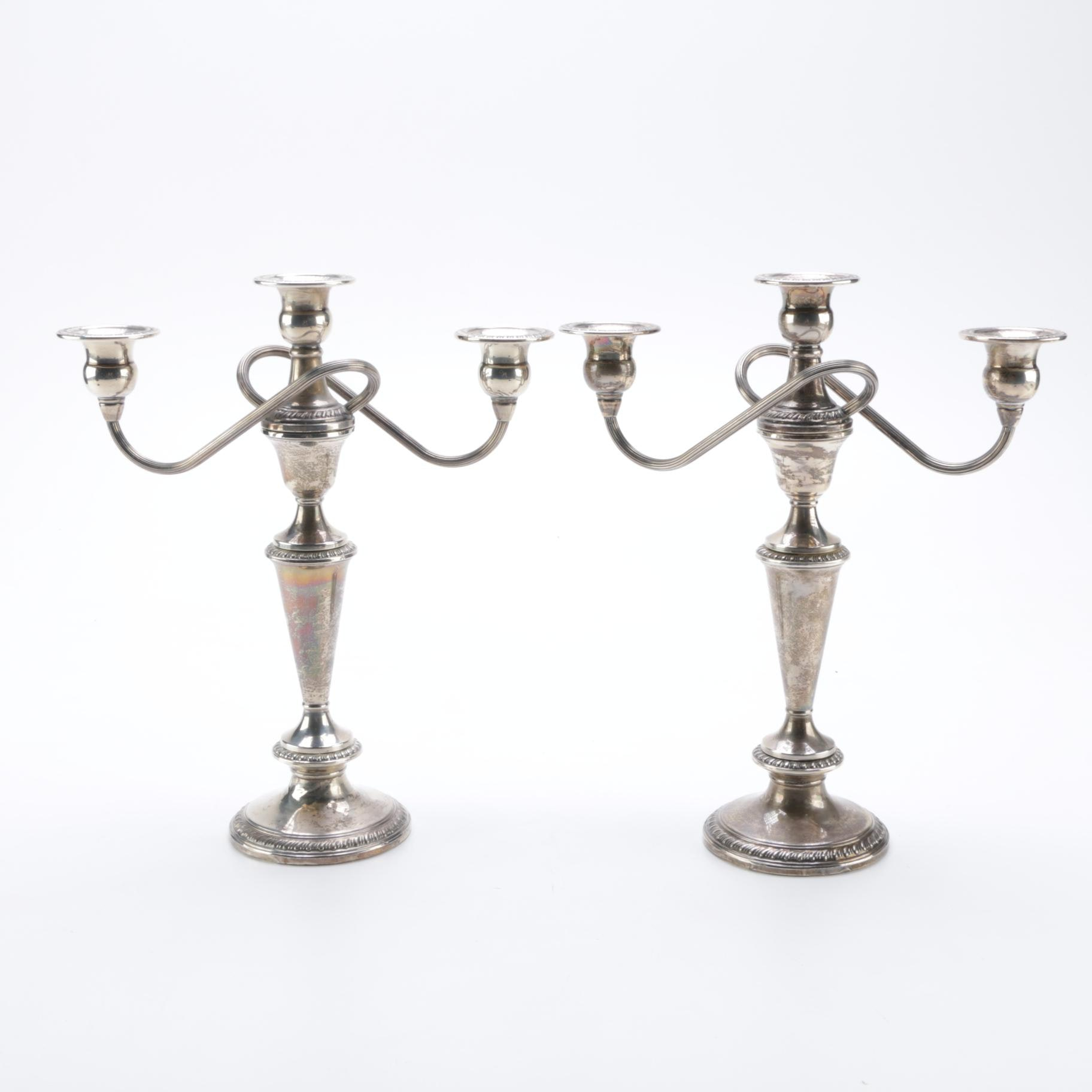Crown Sterling Weighted Sterling Candelabras