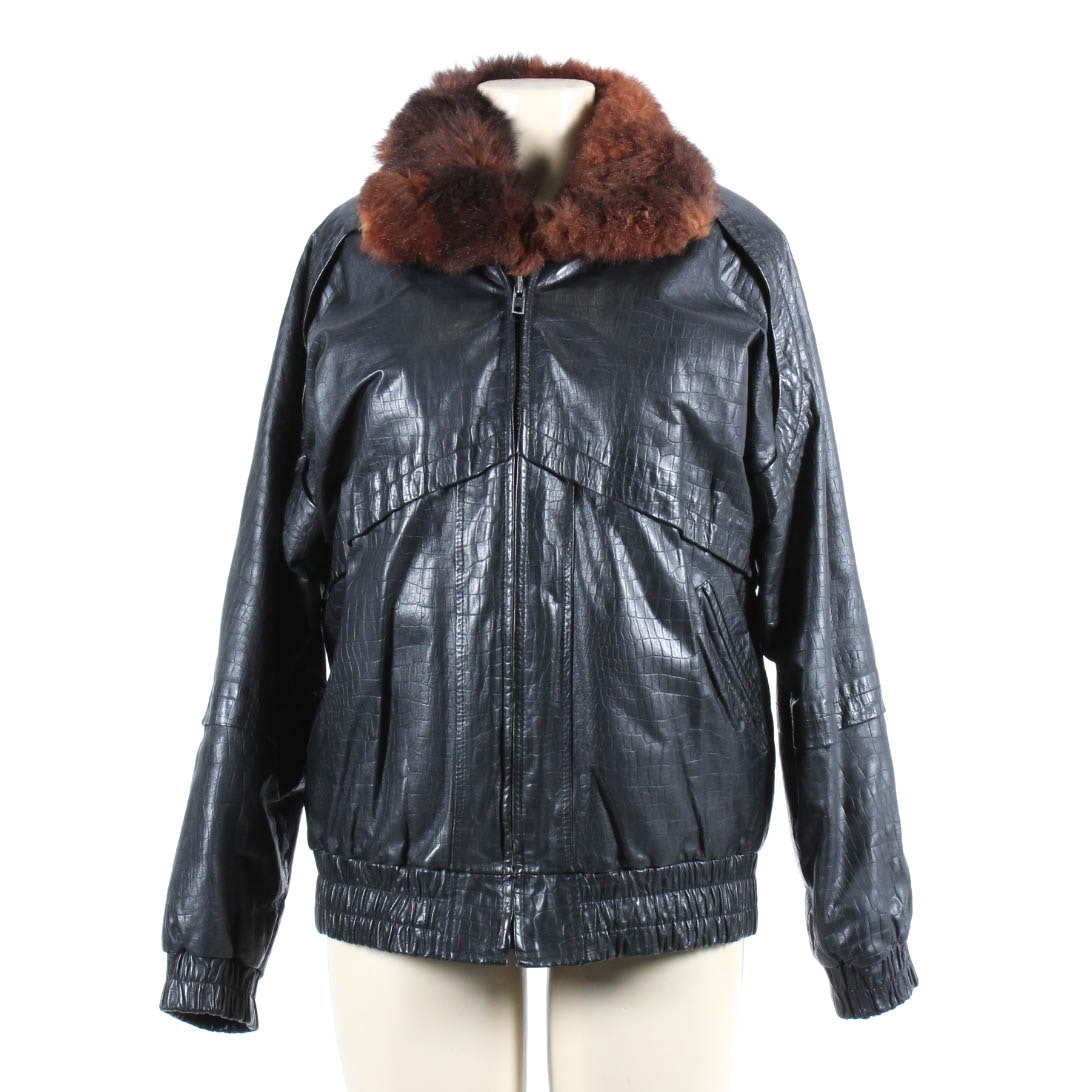 Vintage Leather Jacket With Fur Lining