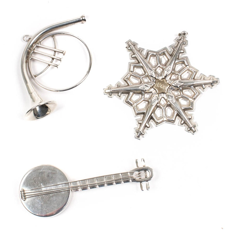 Sterling Silver Gorham And Cartier Christmas Ornaments