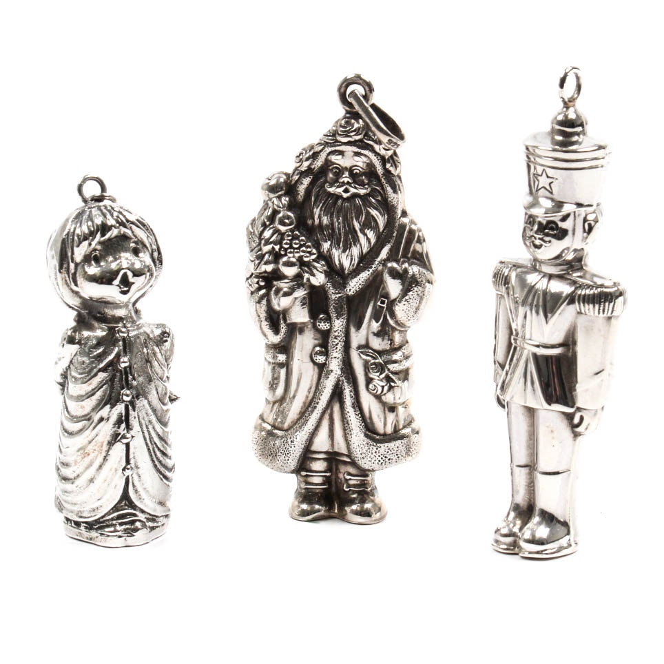 Three Sterling Silver Christmas Ornaments