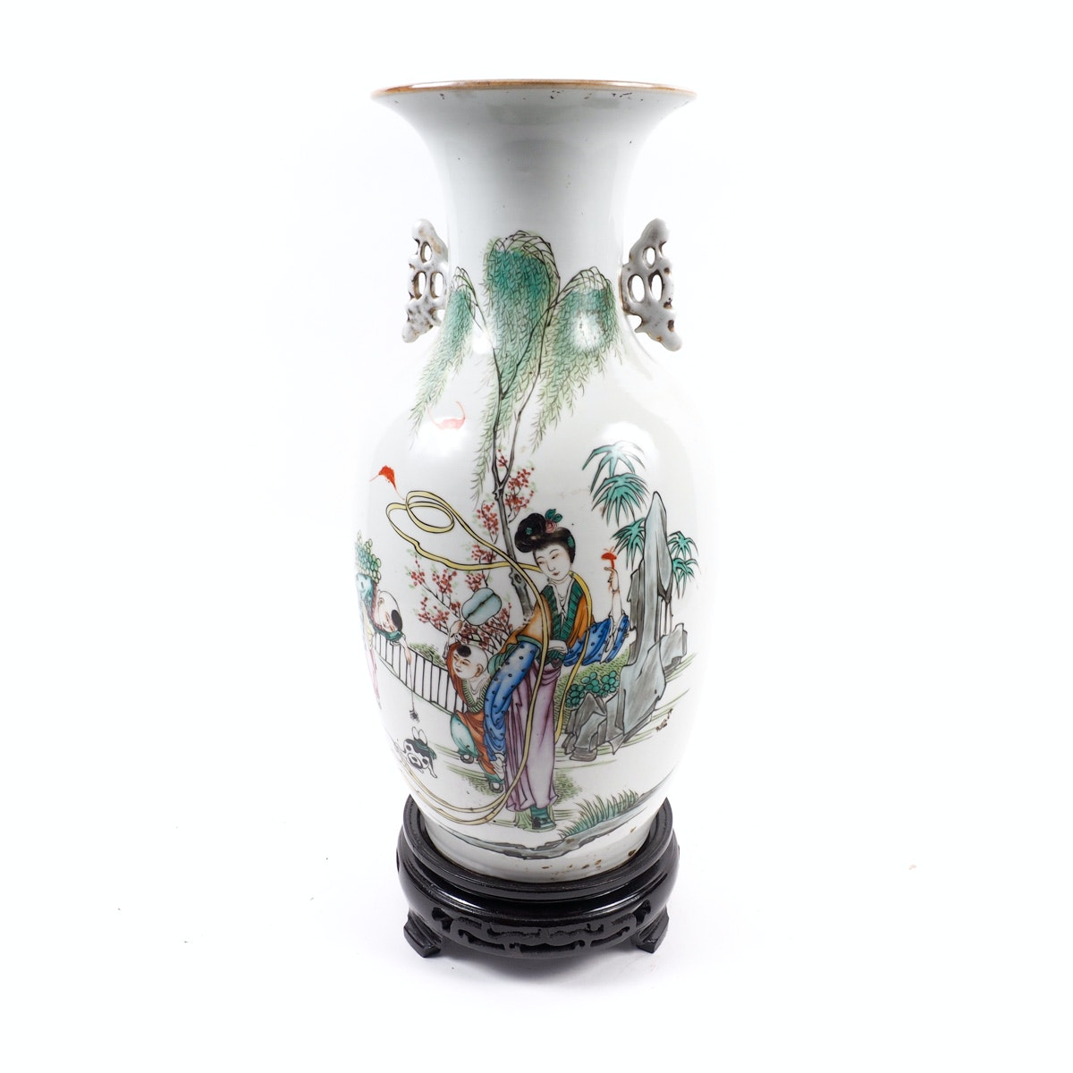 Tall Chinese Hand-Painted Vase