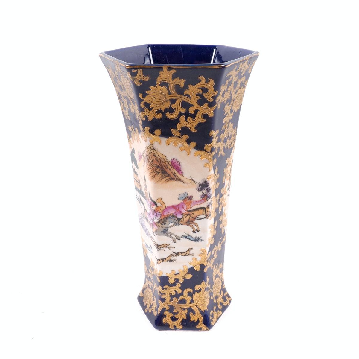 Hand Painted Hexagonal Chinese Vase
