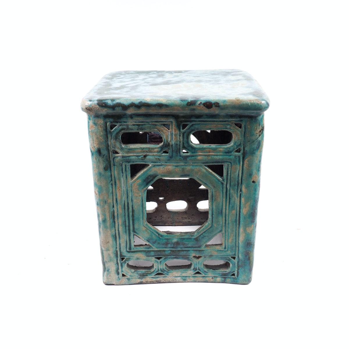 Antique Chinese Turquoise Glazed Garden Stool