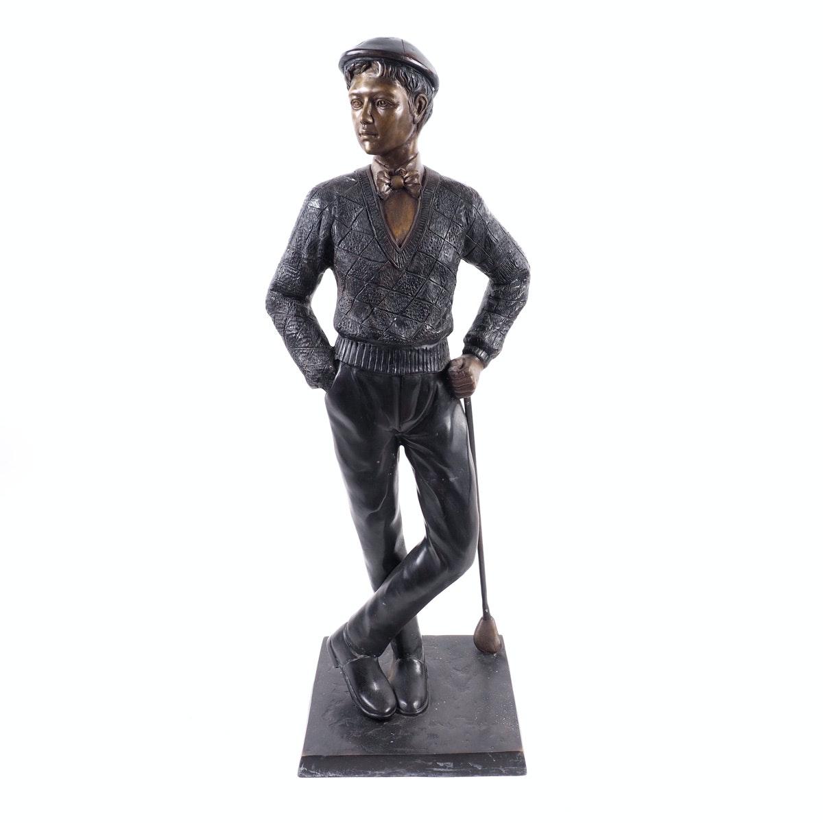 Large Bronze Golfer Statue