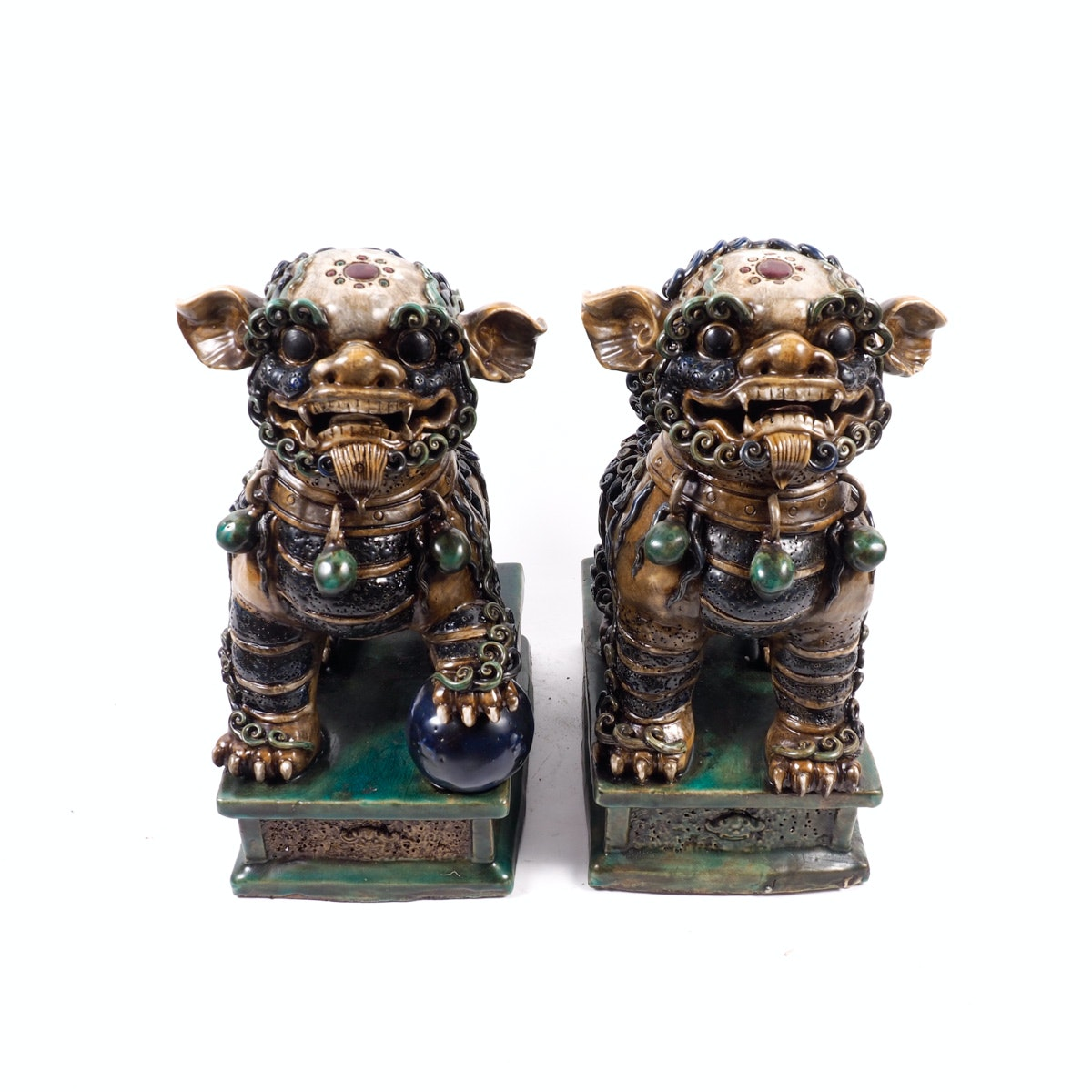 Two Hand Painted Ceramic Imperial Lion Statues