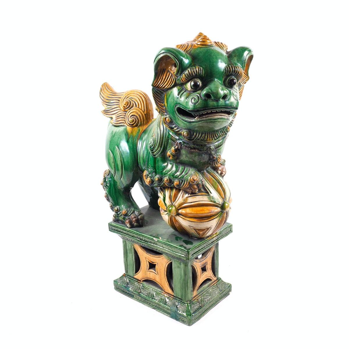 Large Antique Guardian Lion Figurine