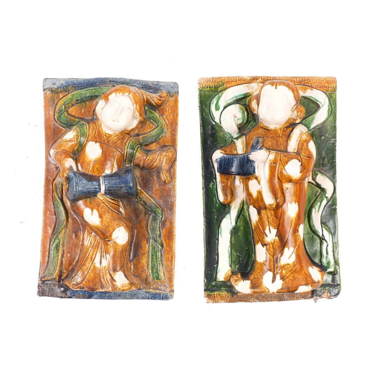 Set of Two Vintage Chinese Ceramic Figural Tiles