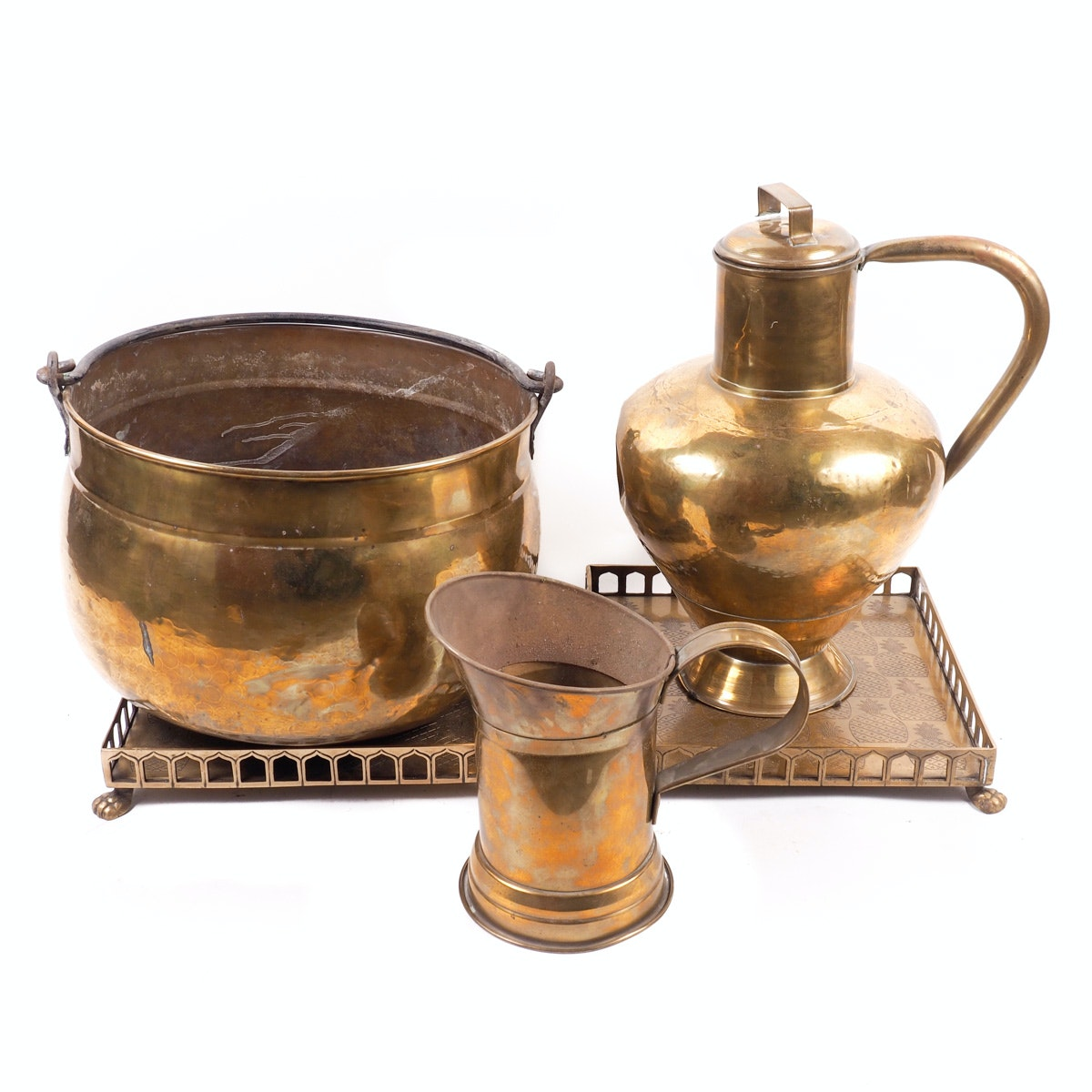 Assortment of Brass Vessels and Trays