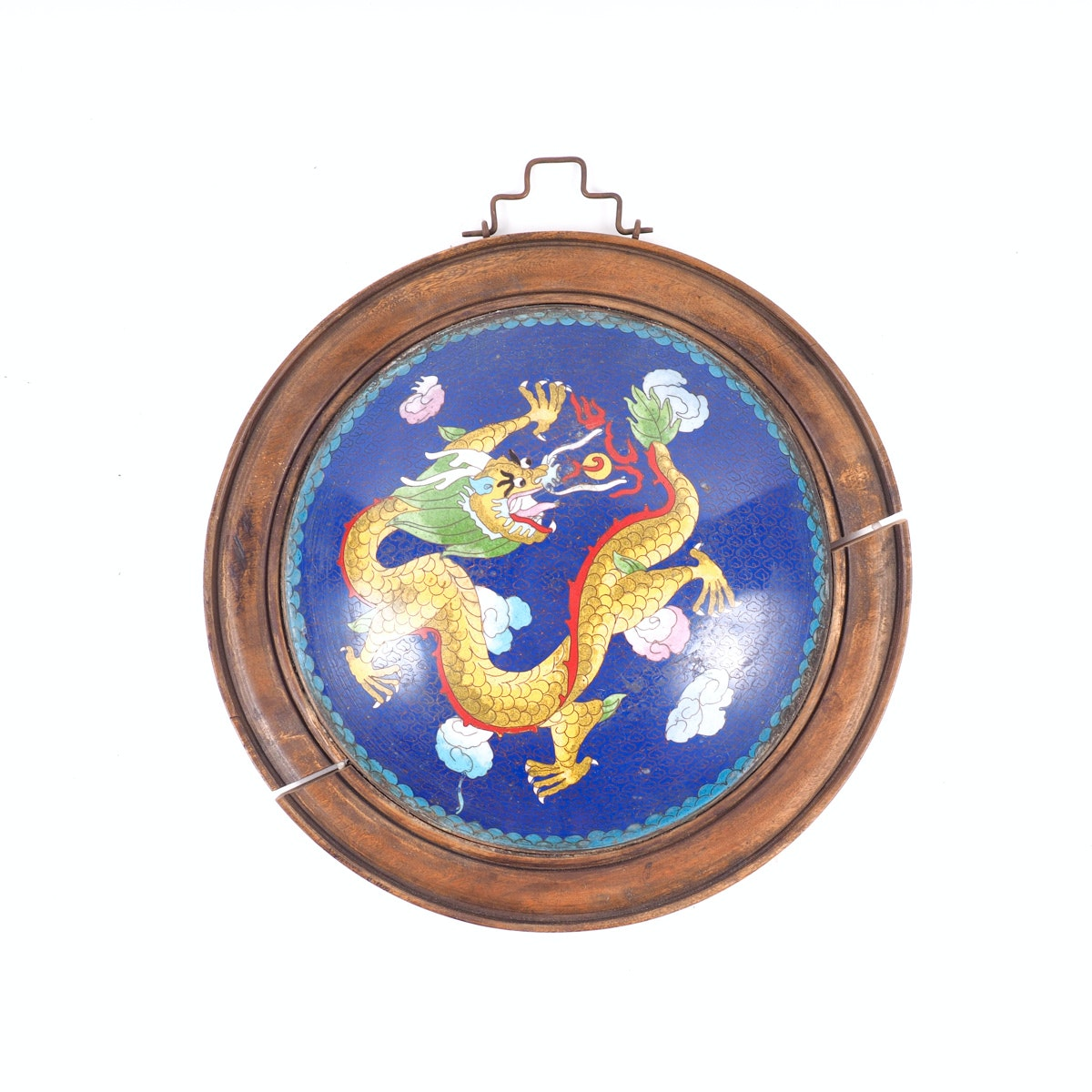 Chinese Cloisonné Wall Hanging Medallion With Dragon Motif
