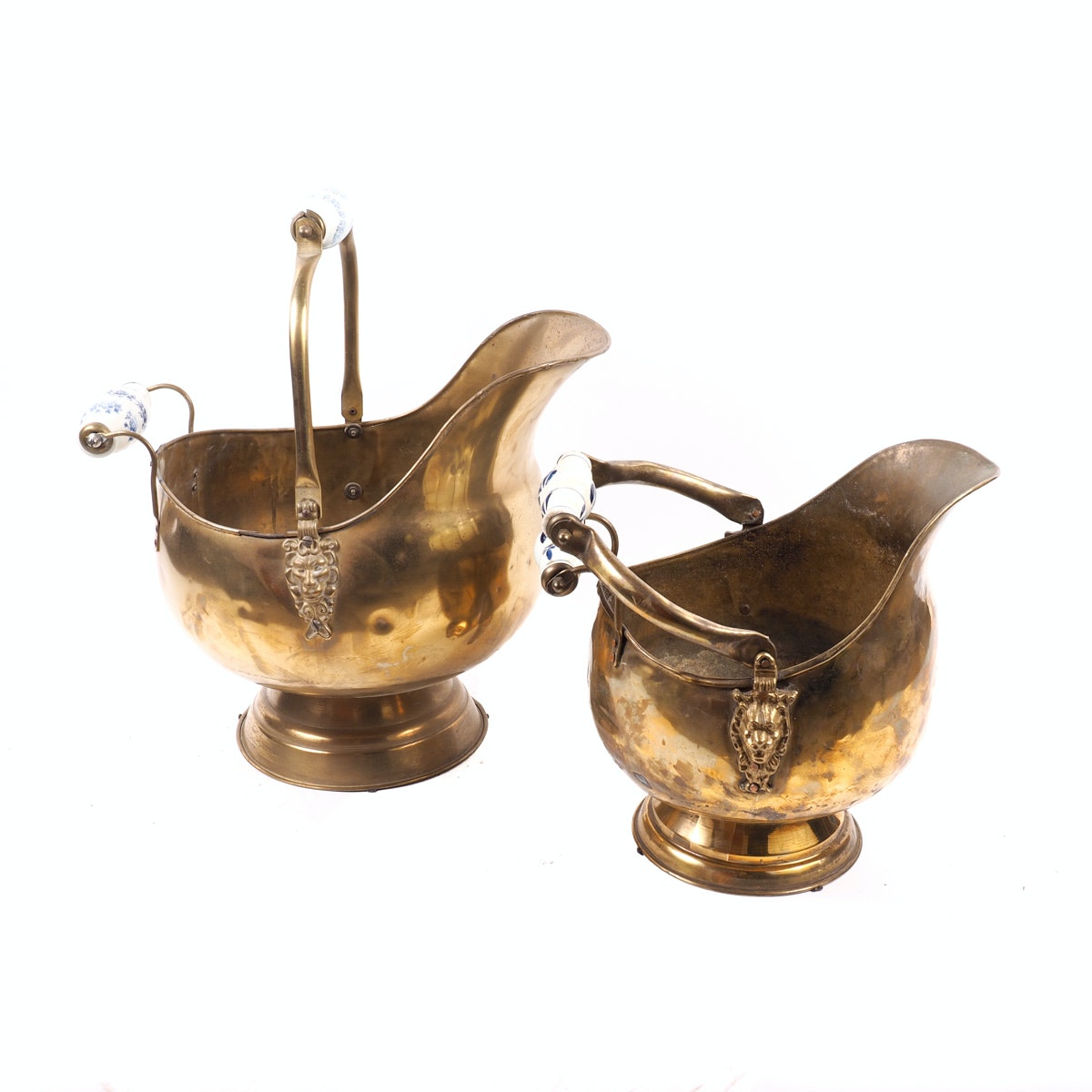 Two Large Brass Bath Pitchers with Porcelain Handles