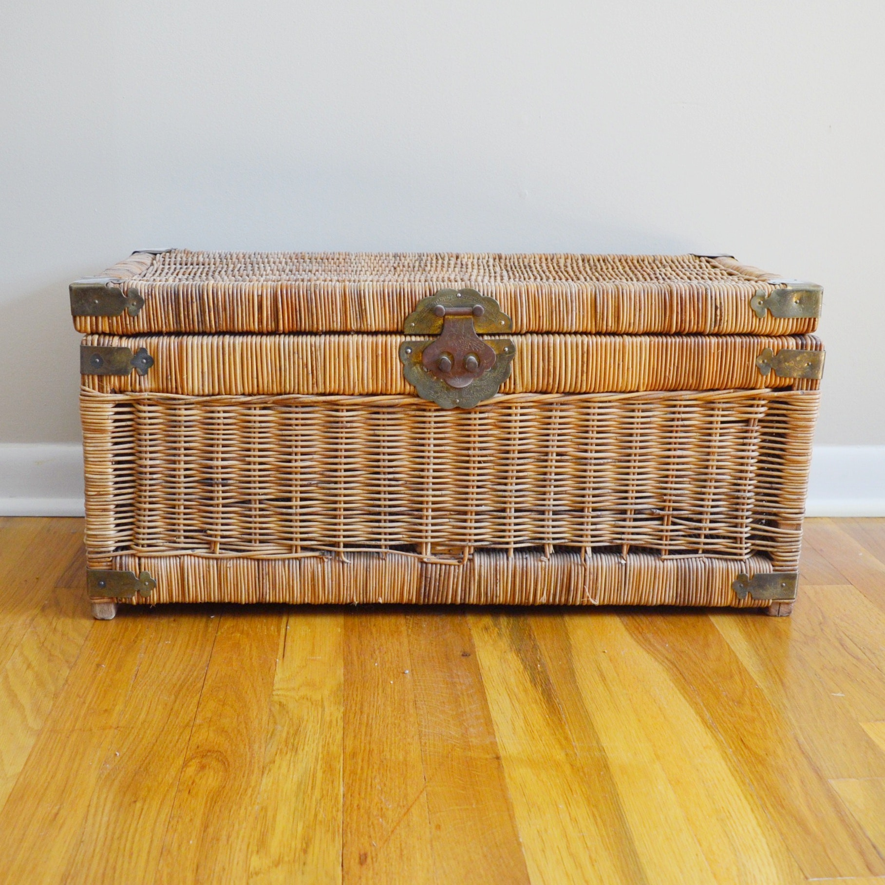 Wicker Storage Chest with Engraved Brass Corners