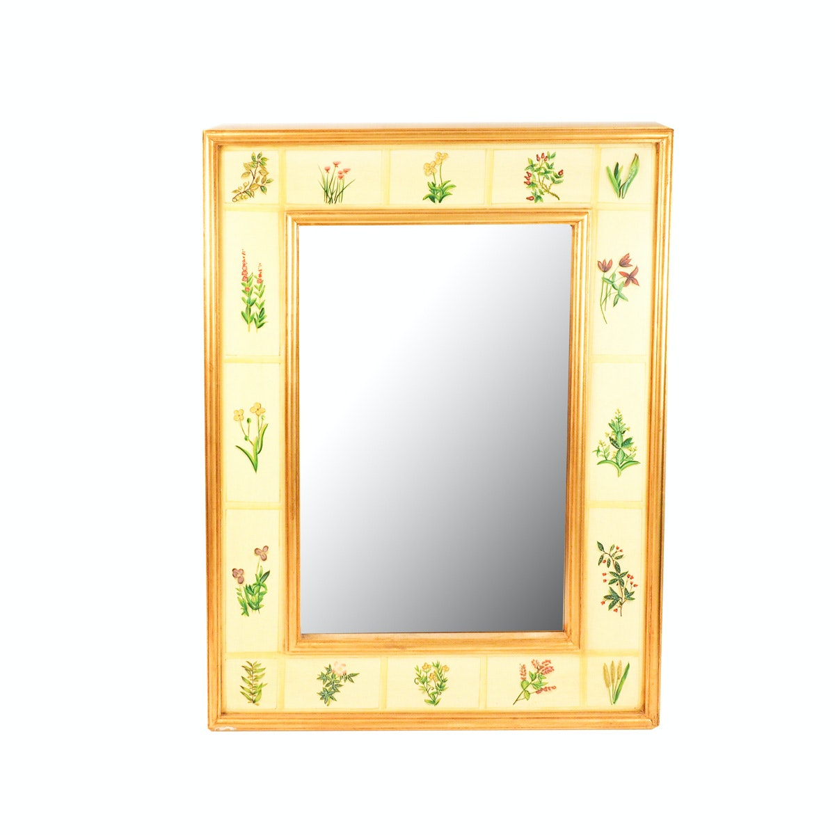 Hand Painted  Botanical Themed Wall Mirror