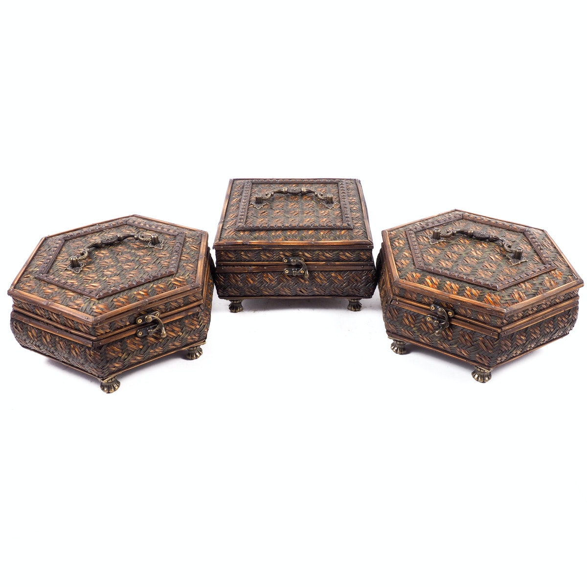 Set of Three Chinese Woven Wicker Trinket Boxes