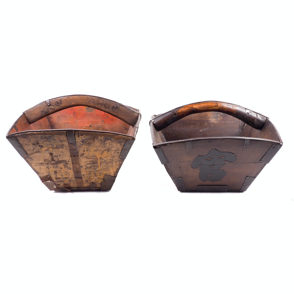 Two Antique Wooden Rice Baskets