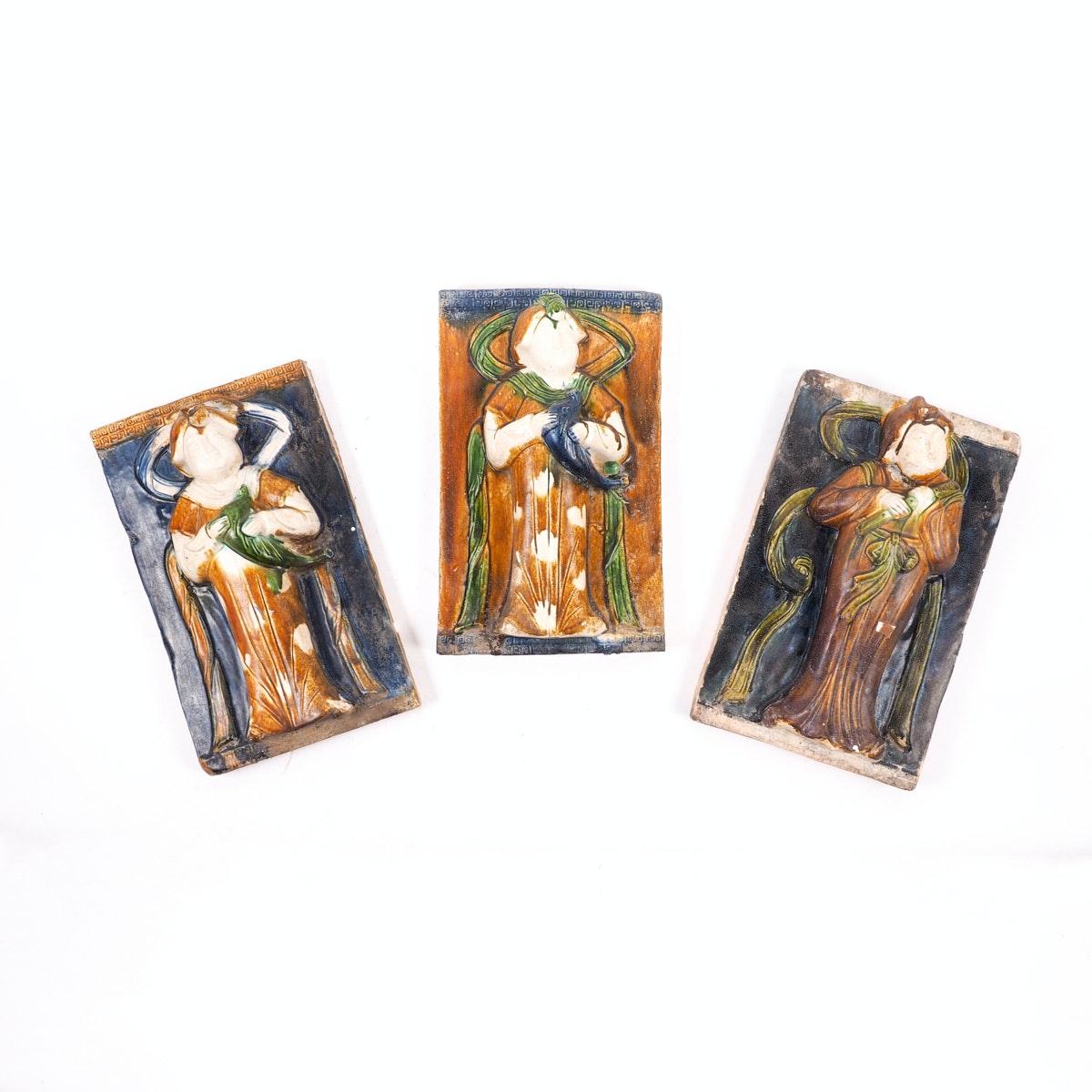 Set of Three Vintage Chinese Ceramic Figural Tiles