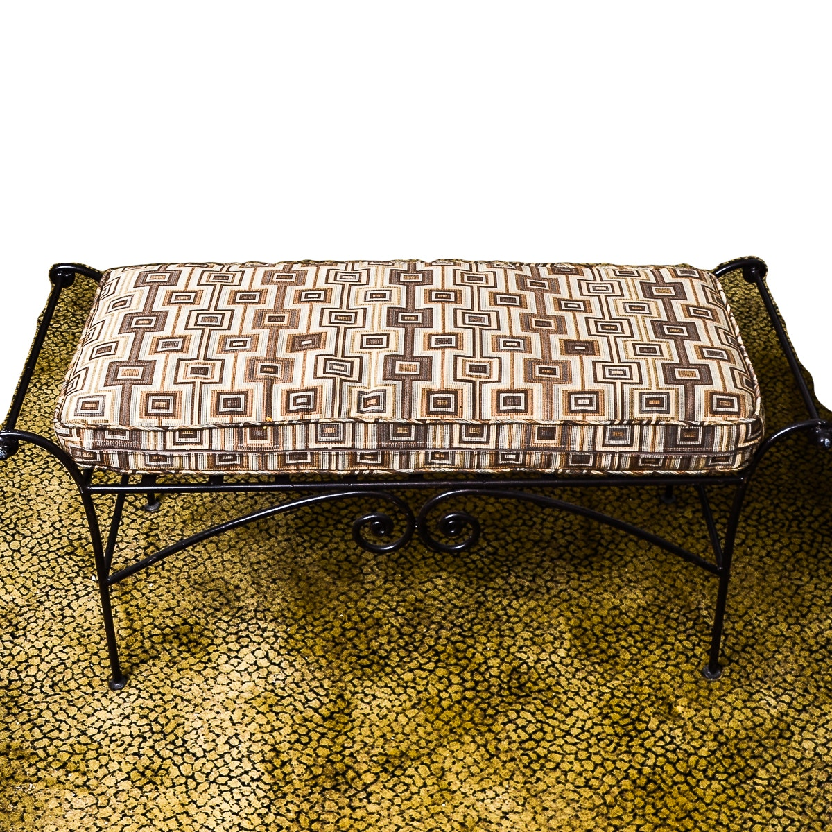 Contemporary Metal Bench With Cushion