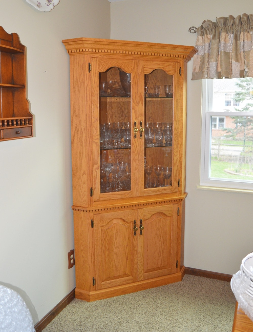 Amish Made Oak Corner Cabinet