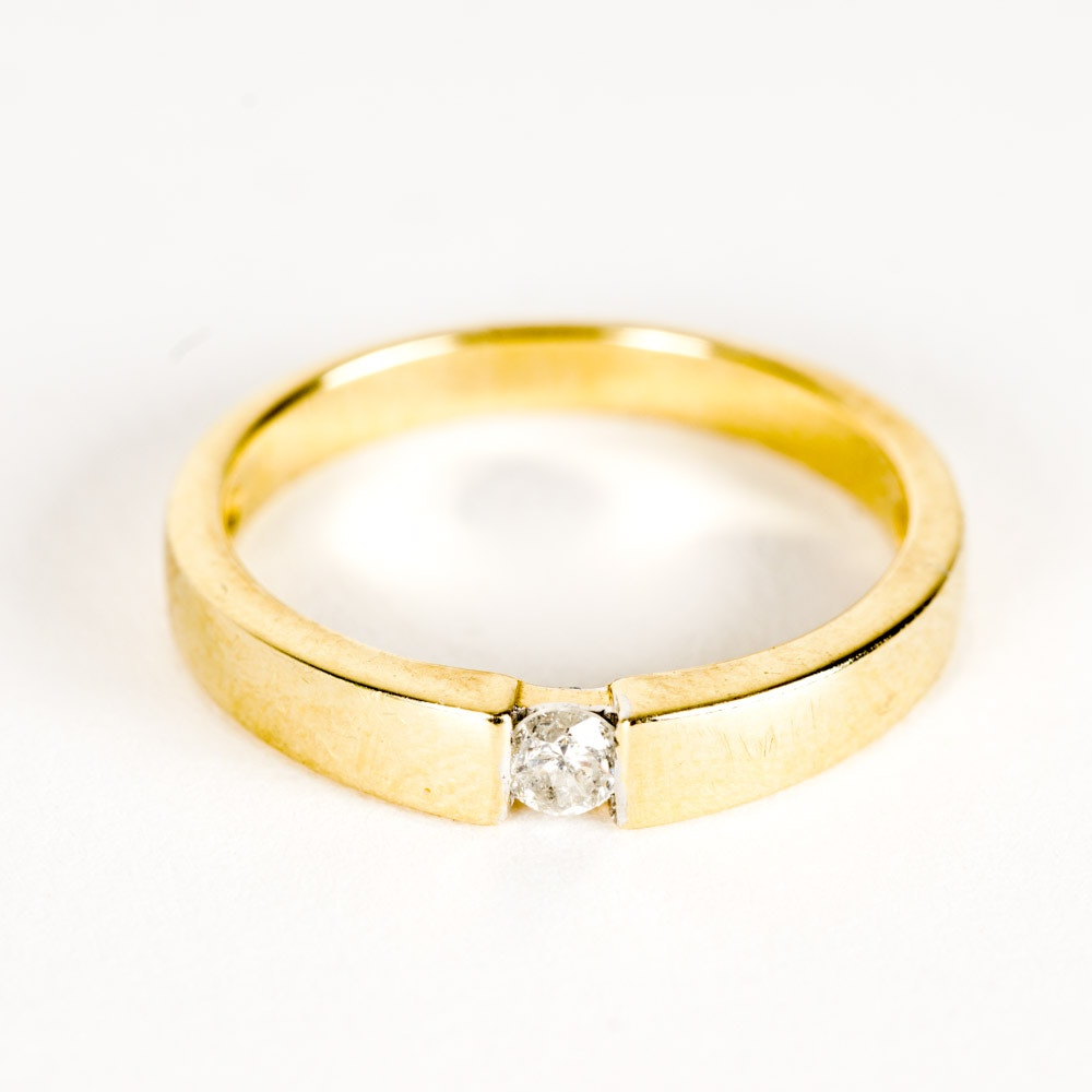 14K Gold and Diamond Solitaire