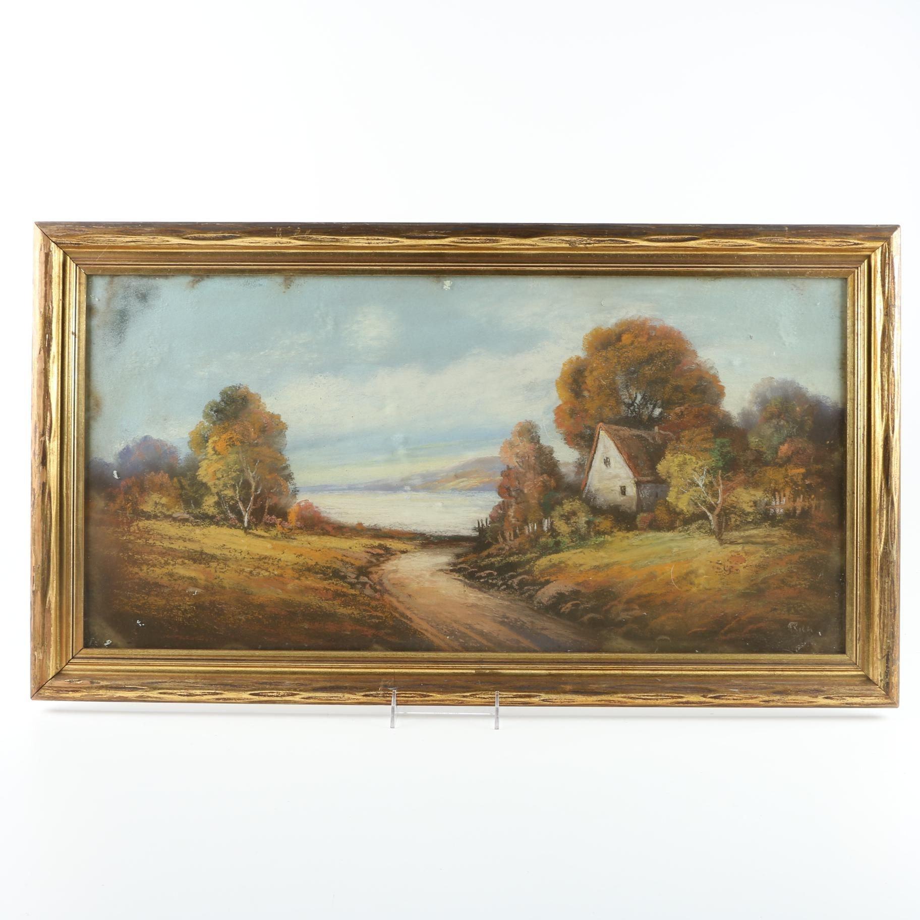 Framed Gouache Painting on Cardboard of Rural Landscape