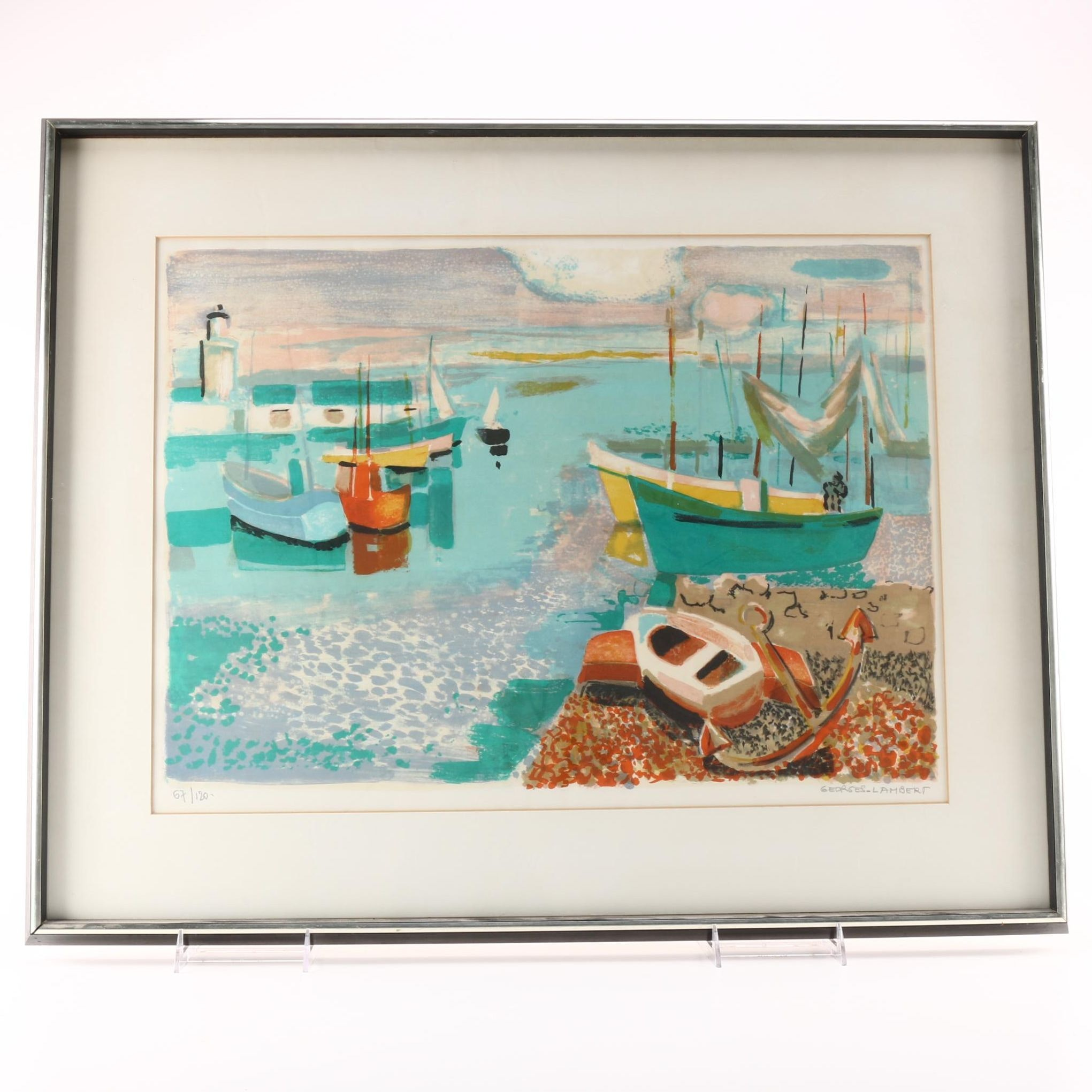 Georges Lambert Limited Edition Lithograph of a Harbor
