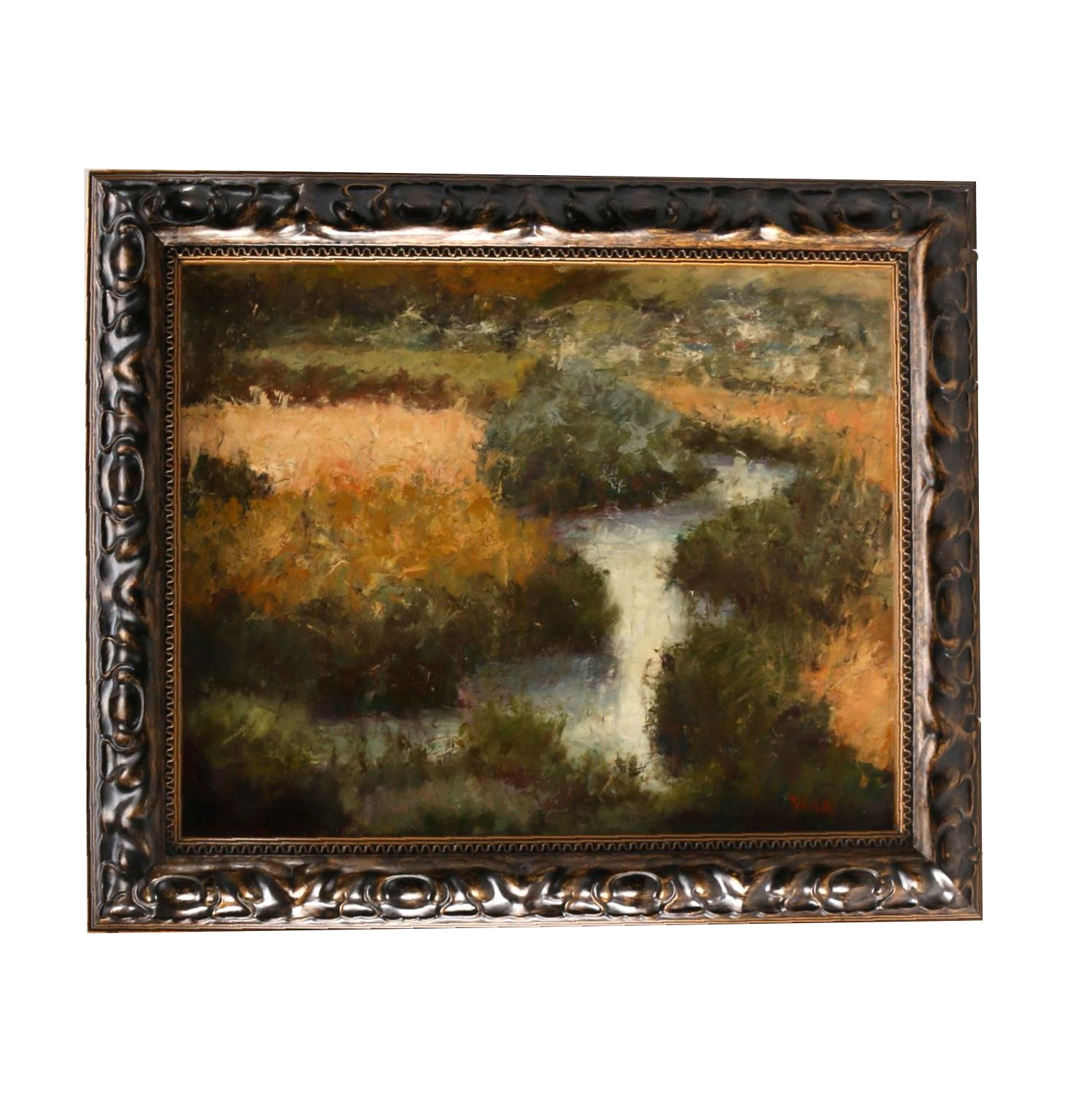 """B. Hughes Oil on Board """"Champagne Valley"""""""