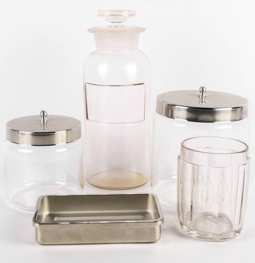 pharmacy style bathroom accessories featuring restoration hardware