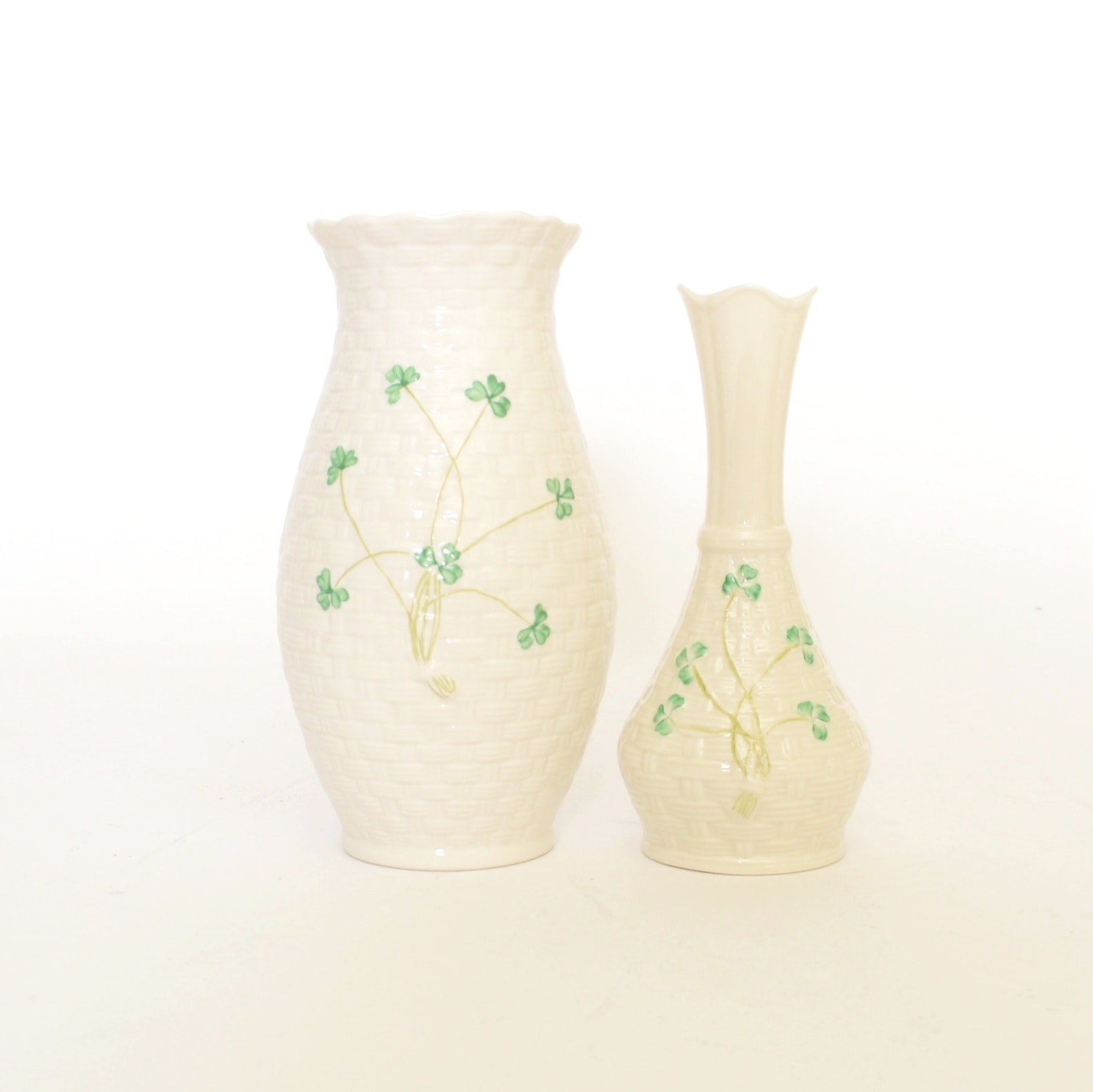 Pair of Belleek Shamrock Vases