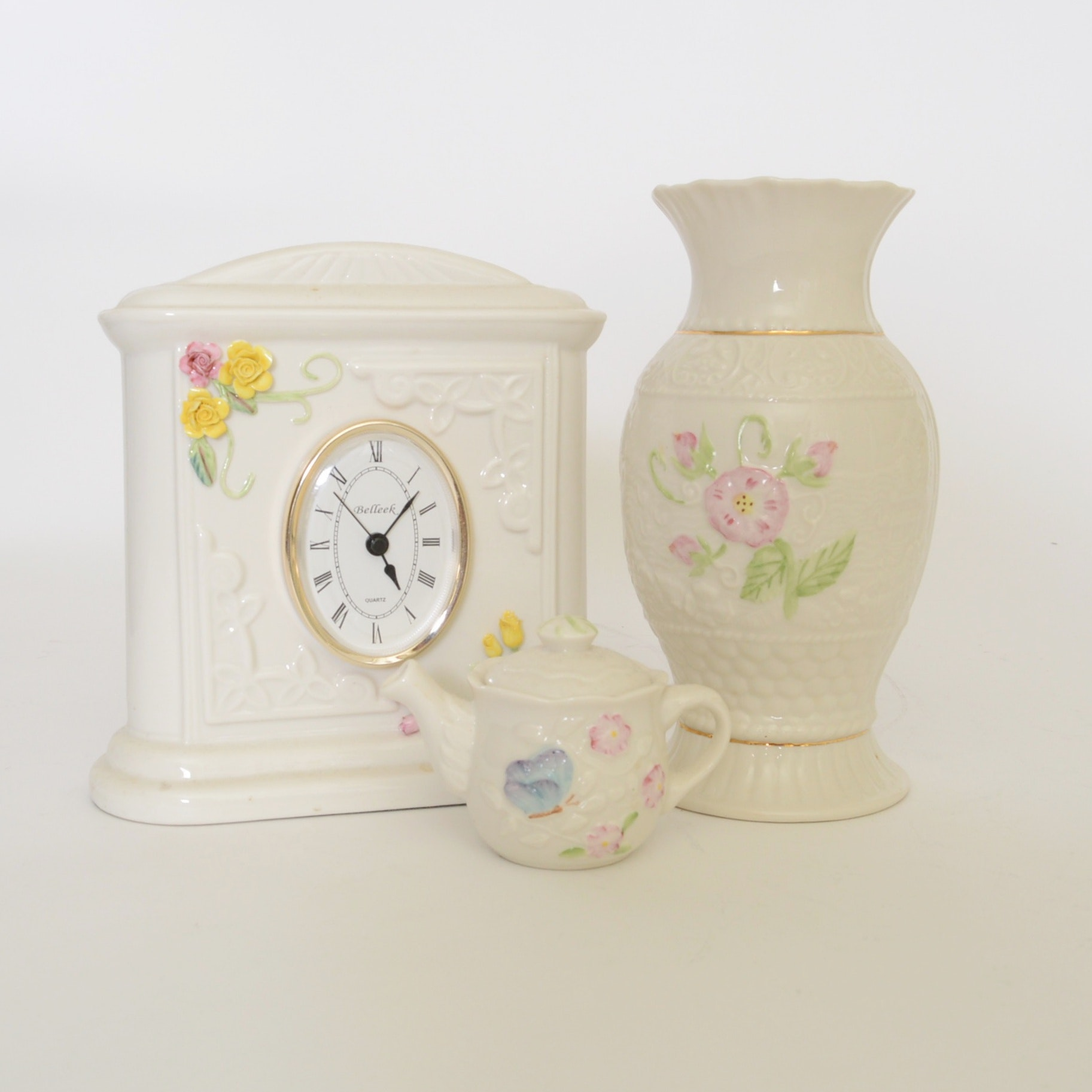 Belleek Mantel Clock, Vase and Creamer