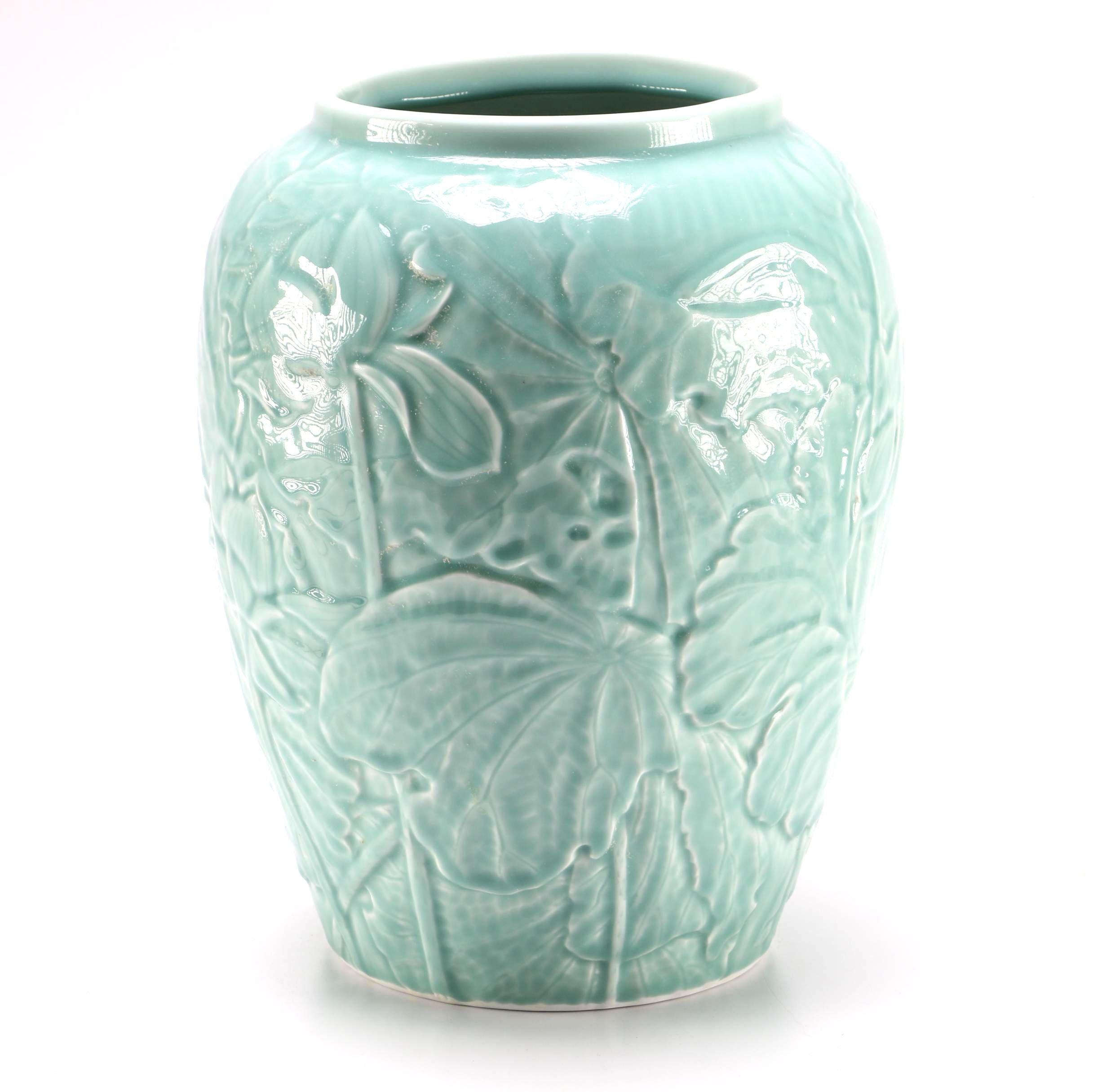 Korean Floral Porcelain Vase