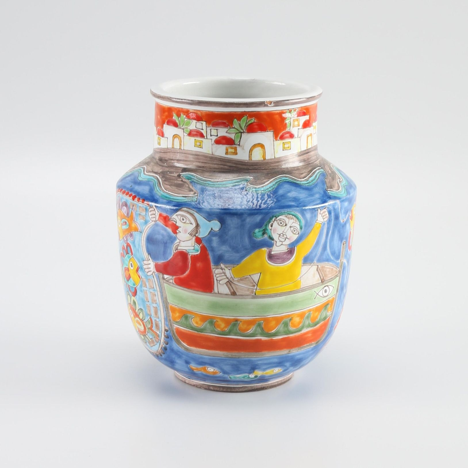 Italian Hand-Painted Earthenware Jar